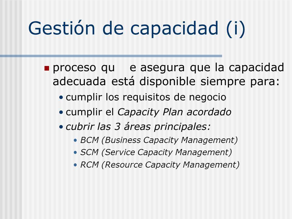 Gestión de capacidad (i) proceso que asegura que la capacidad adecuada está disponible siempre para: cumplir los requisitos de negocio cumplir el Capa