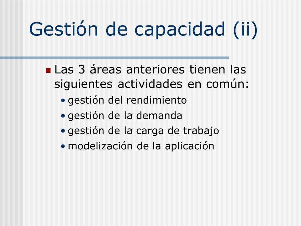 Gestión de capacidad (ii) Las 3 áreas anteriores tienen las siguientes actividades en común: gestión del rendimiento gestión de la demanda gestión de