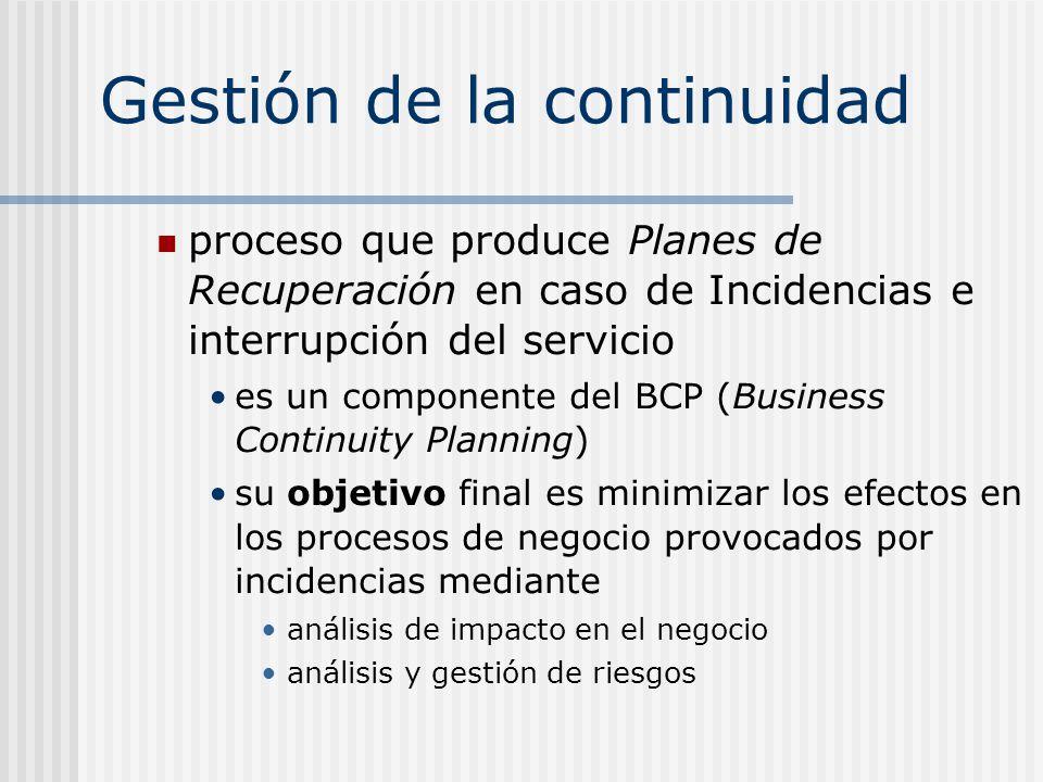 Gestión de la continuidad proceso que produce Planes de Recuperación en caso de Incidencias e interrupción del servicio es un componente del BCP (Busi