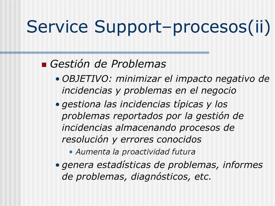 Service Support–procesos(ii) Gestión de Problemas OBJETIVO: minimizar el impacto negativo de incidencias y problemas en el negocio gestiona las incide