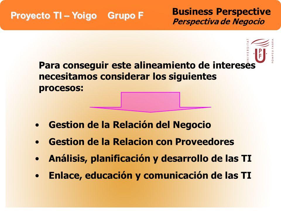 Proyecto TI – Yoigo Grupo F Business Perspective Perspectiva de Negocio Para conseguir este alineamiento de intereses necesitamos considerar los sigui