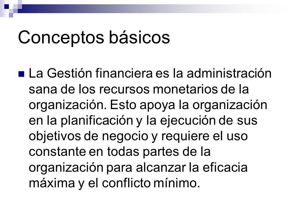 Conceptos básicos La Gestión financiera es la administración sana de los recursos monetarios de la organización. Esto apoya la organización en la plan