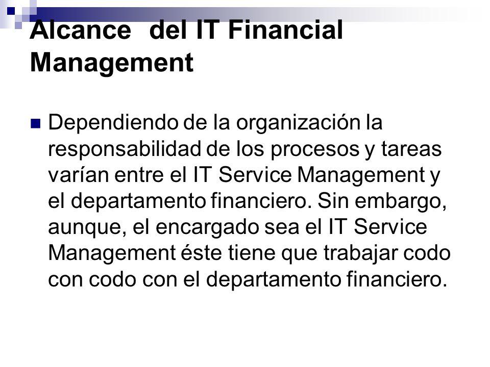 Alcance del IT Financial Management Dependiendo de la organización la responsabilidad de los procesos y tareas varían entre el IT Service Management y