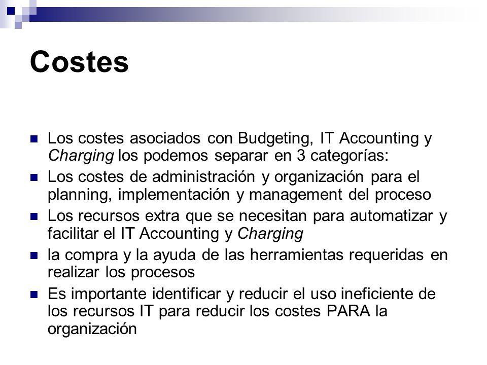 Costes Los costes asociados con Budgeting, IT Accounting y Charging los podemos separar en 3 categorías: Los costes de administración y organización p
