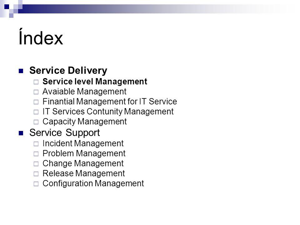 Service Level Management (SLM) I Provee la interfaz de los negocios y muestra las mejores prestaciones de cada uno de los otros 4 procesos.