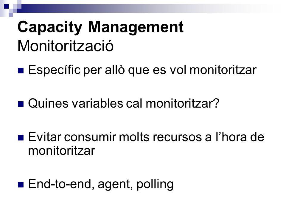 Capacity Management Monitorització Específic per allò que es vol monitoritzar Quines variables cal monitoritzar? Evitar consumir molts recursos a lhor