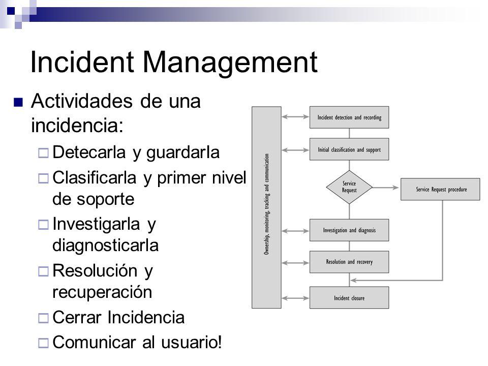 Incident Management Actividades de una incidencia: Detecarla y guardarIa Clasificarla y primer nivel de soporte Investigarla y diagnosticarla Resoluci