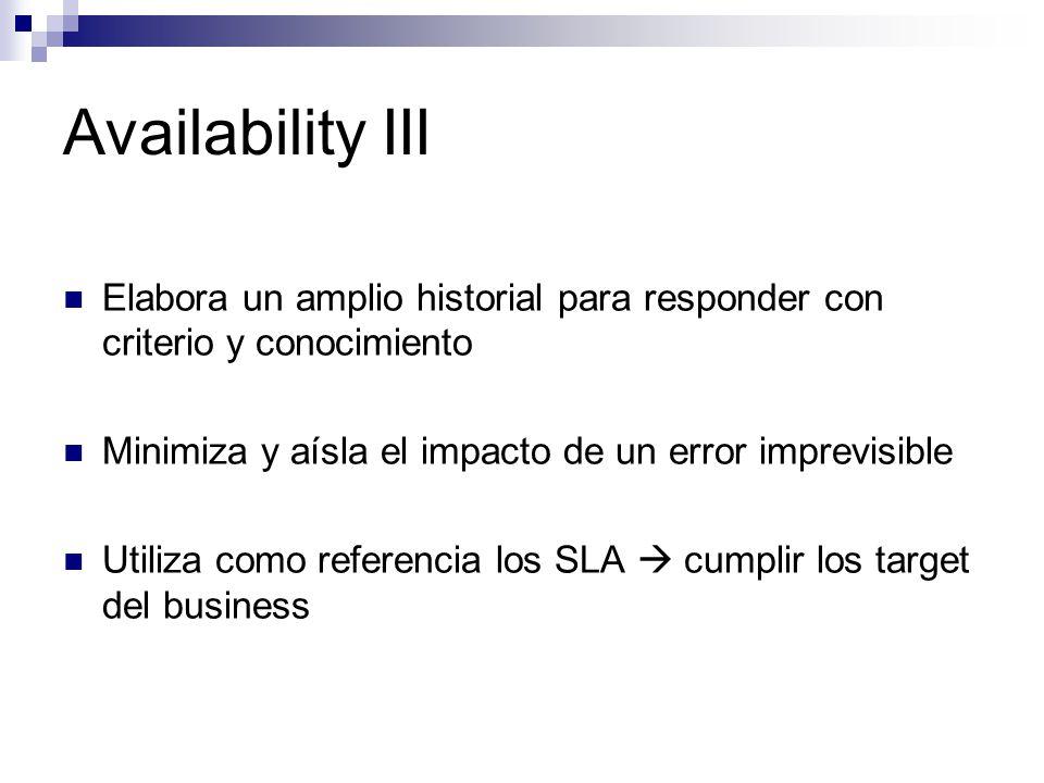 Availability III Elabora un amplio historial para responder con criterio y conocimiento Minimiza y aísla el impacto de un error imprevisible Utiliza c