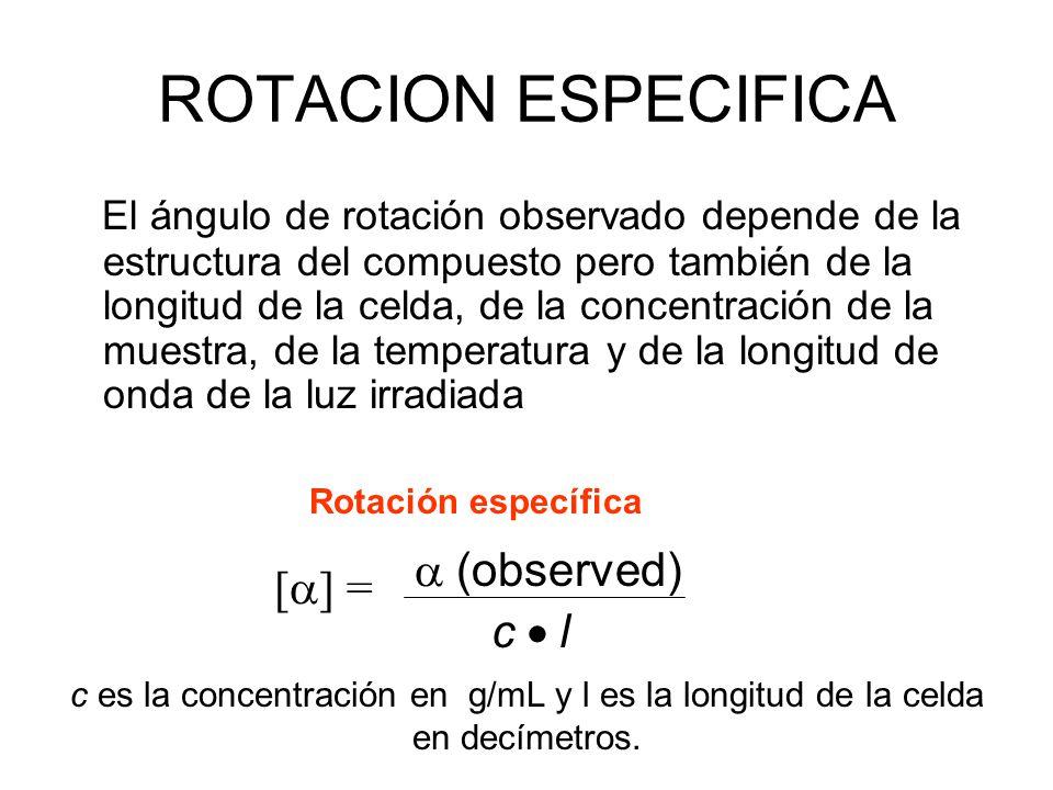 ROTACION ESPECIFICA El ángulo de rotación observado depende de la estructura del compuesto pero también de la longitud de la celda, de la concentració
