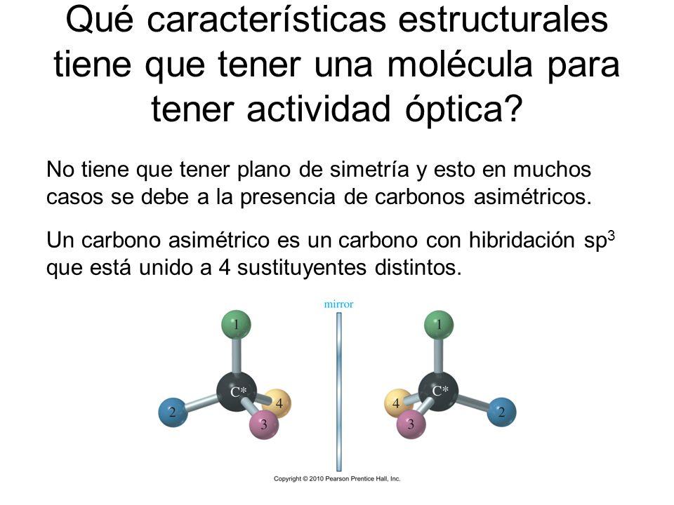 Qué características estructurales tiene que tener una molécula para tener actividad óptica? No tiene que tener plano de simetría y esto en muchos caso