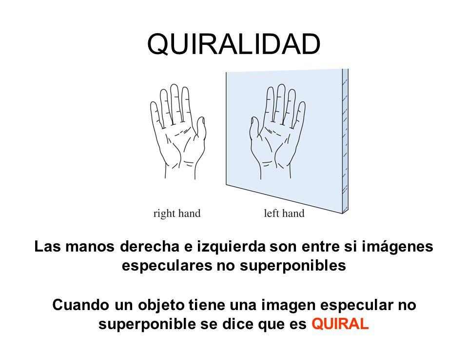 QUIRALIDAD Las manos derecha e izquierda son entre si imágenes especulares no superponibles Cuando un objeto tiene una imagen especular no superponibl