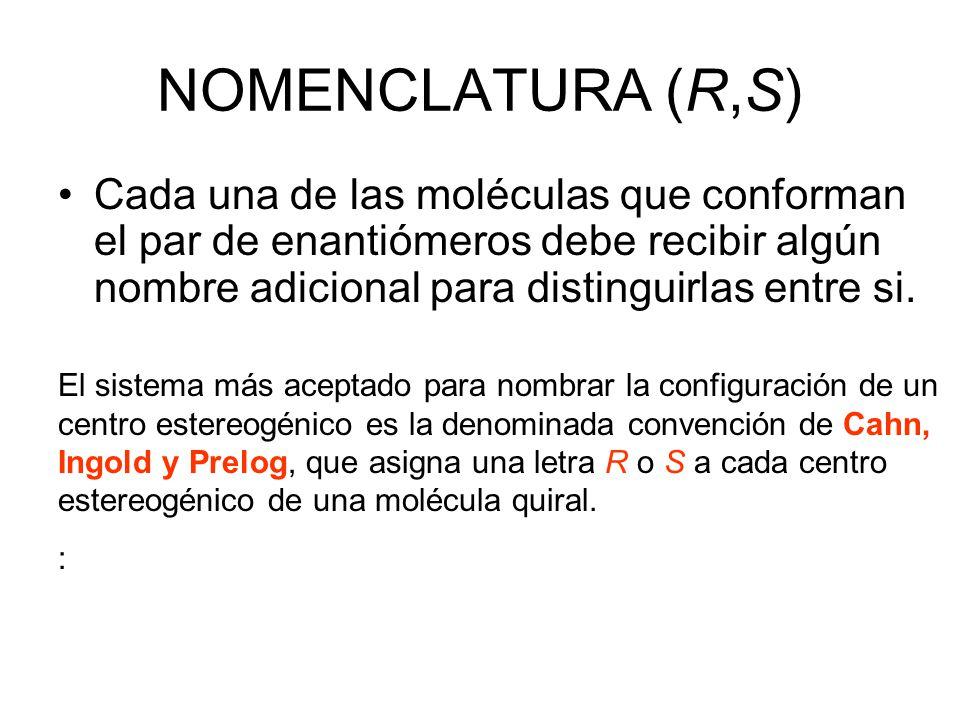 NOMENCLATURA (R,S) Cada una de las moléculas que conforman el par de enantiómeros debe recibir algún nombre adicional para distinguirlas entre si. El