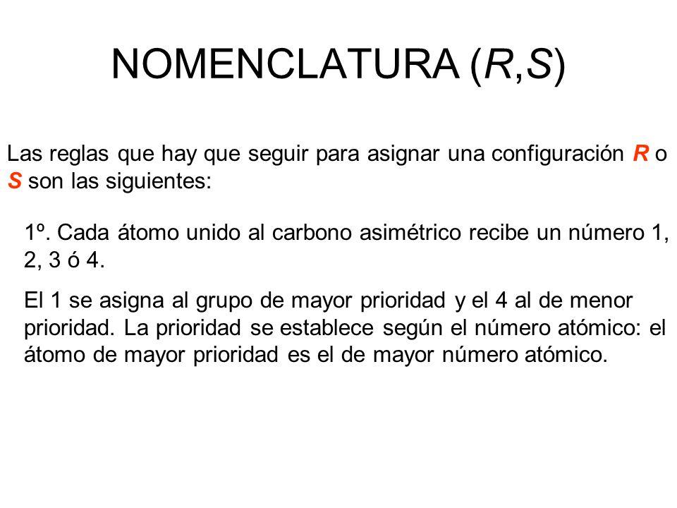 NOMENCLATURA (R,S) Las reglas que hay que seguir para asignar una configuración R o S son las siguientes: 1º. Cada átomo unido al carbono asimétrico r