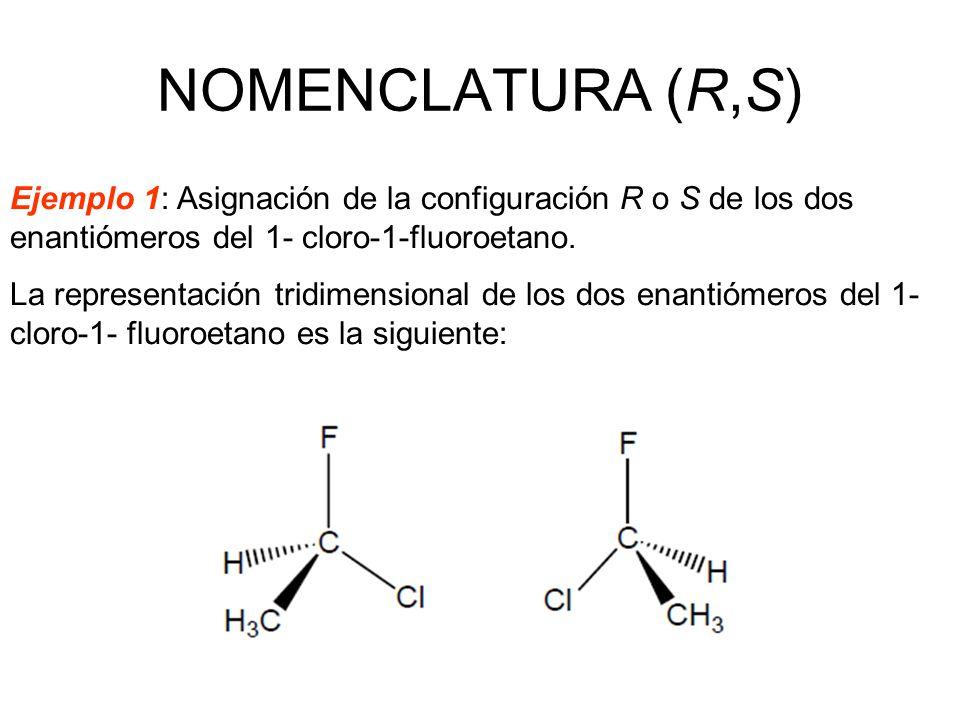 Ejemplo 1: Asignación de la configuración R o S de los dos enantiómeros del 1- cloro-1-fluoroetano. La representación tridimensional de los dos enanti