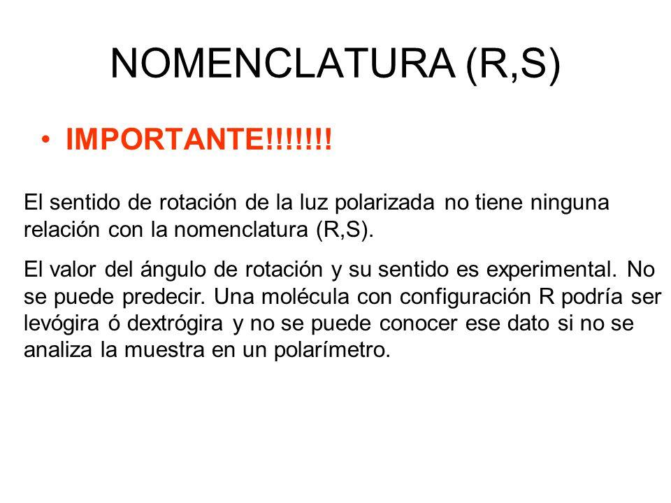 NOMENCLATURA (R,S) IMPORTANTE!!!!!!! El sentido de rotación de la luz polarizada no tiene ninguna relación con la nomenclatura (R,S). El valor del áng