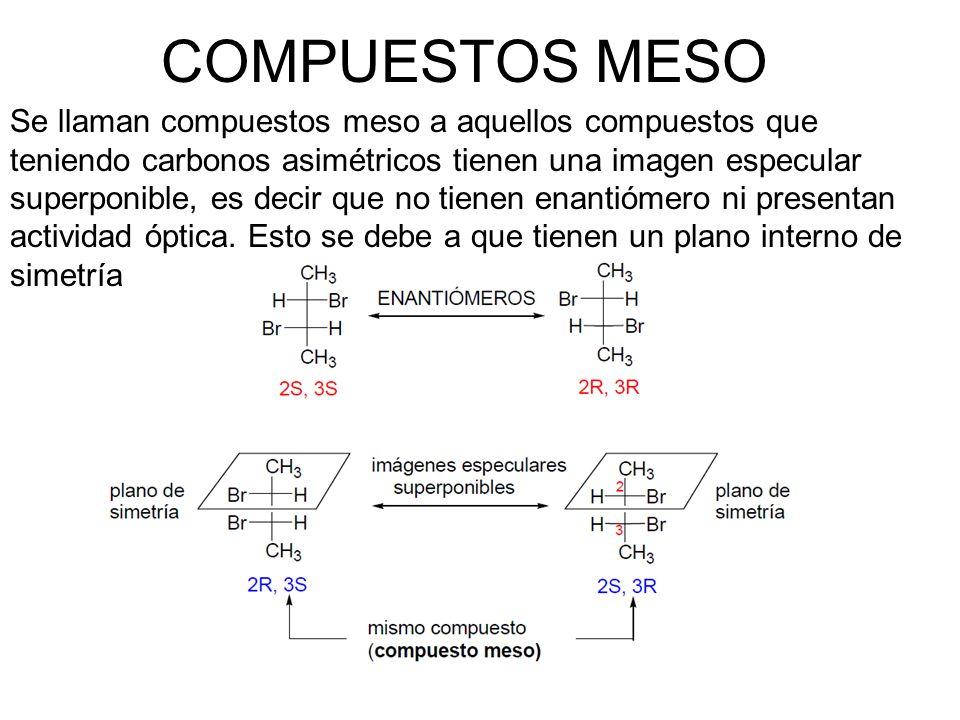 COMPUESTOS MESO Se llaman compuestos meso a aquellos compuestos que teniendo carbonos asimétricos tienen una imagen especular superponible, es decir q