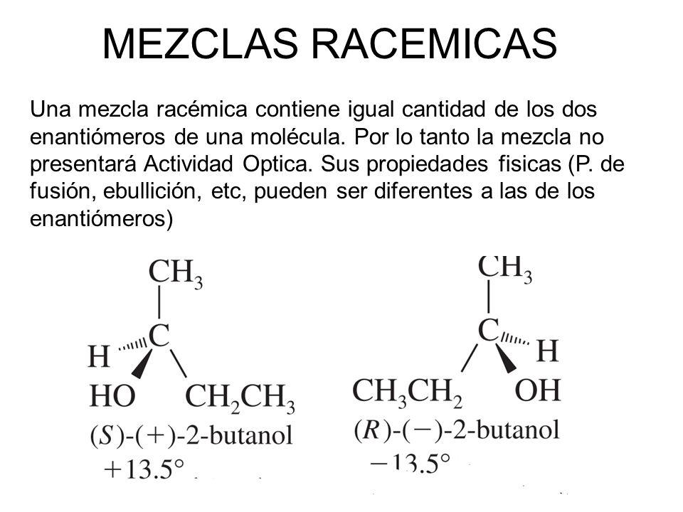 MEZCLAS RACEMICAS Una mezcla racémica contiene igual cantidad de los dos enantiómeros de una molécula. Por lo tanto la mezcla no presentará Actividad