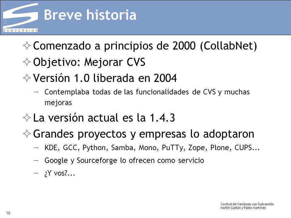 Control de Versiones con Subversión Martín Gaitán y Pablo Martínez 10 Breve historia Comenzado a principios de 2000 (CollabNet) Objetivo: Mejorar CVS