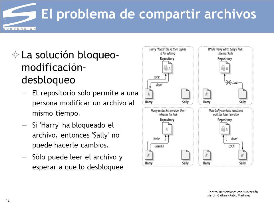 Control de Versiones con Subversión Martín Gaitán y Pablo Martínez 12 El problema de compartir archivos La solución bloqueo- modificación- desbloqueo