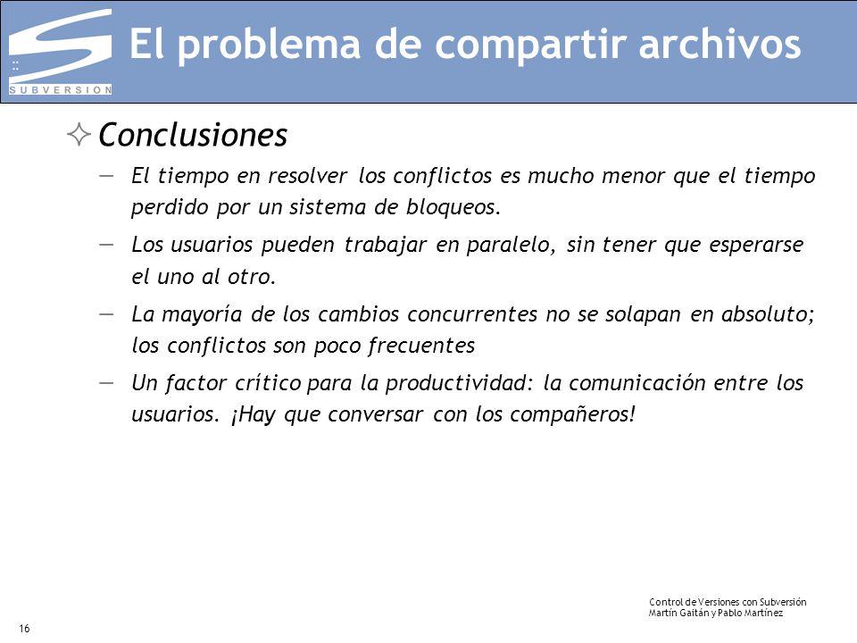 Control de Versiones con Subversión Martín Gaitán y Pablo Martínez 16 El problema de compartir archivos Conclusiones El tiempo en resolver los conflic