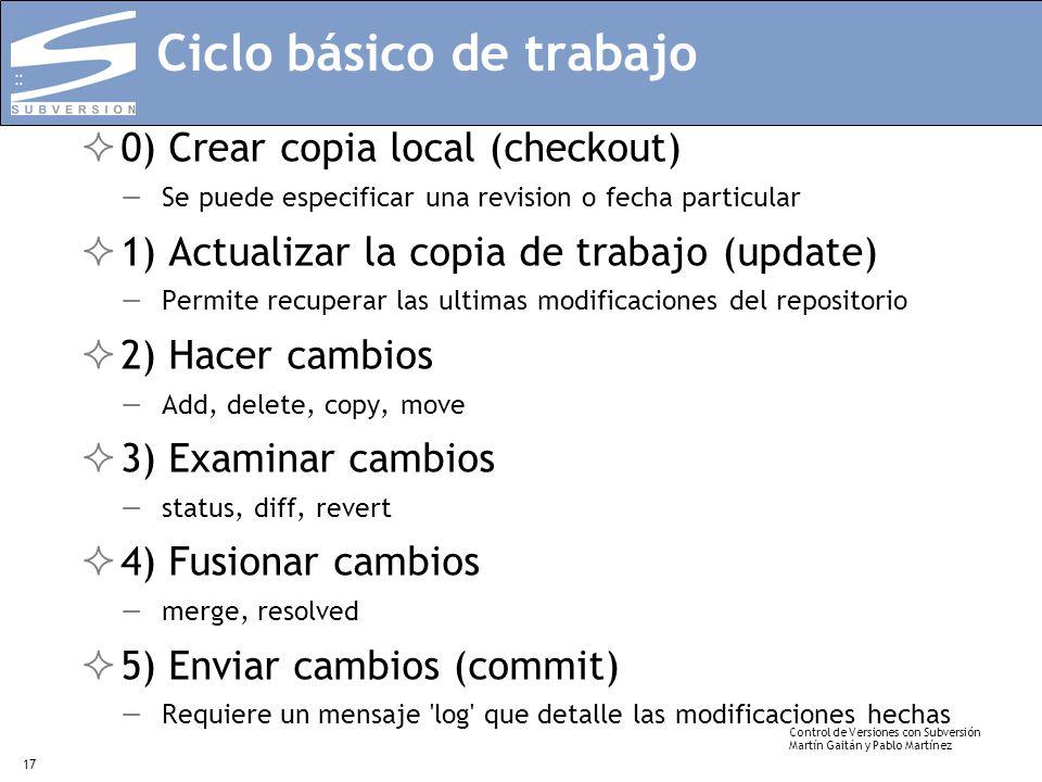 Control de Versiones con Subversión Martín Gaitán y Pablo Martínez 17 Ciclo básico de trabajo 0) Crear copia local (checkout) Se puede especificar una