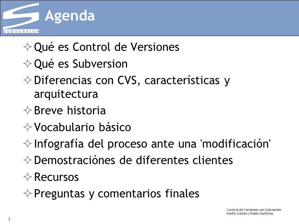 Control de Versiones con Subversión Martín Gaitán y Pablo Martínez 2 Agenda Qué es Control de Versiones Qué es Subversion Diferencias con CVS, caracte