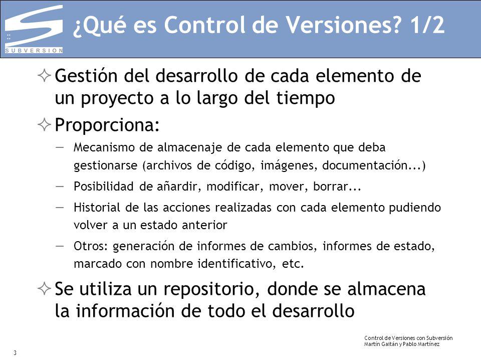 Control de Versiones con Subversión Martín Gaitán y Pablo Martínez 3 ¿Qué es Control de Versiones? 1/2 Gestión del desarrollo de cada elemento de un p