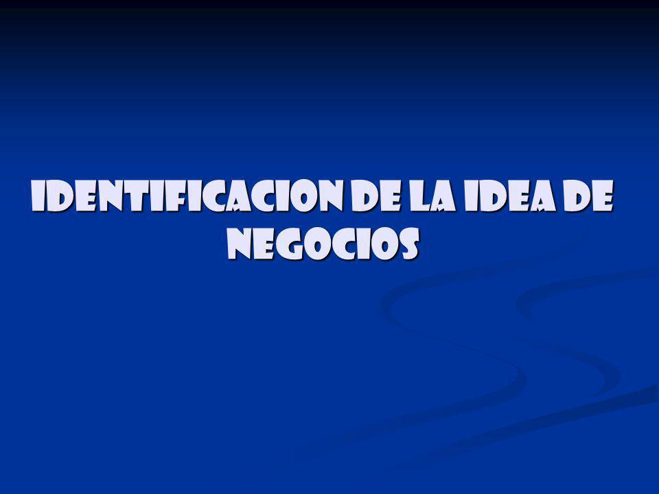IDENTIFICACION DE LA IDEA DE NEGOCIOS