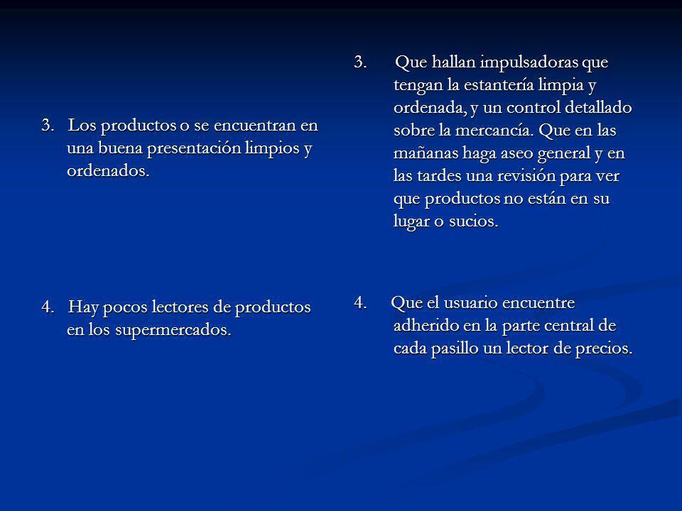 3. Los productos o se encuentran en una buena presentación limpios y ordenados.