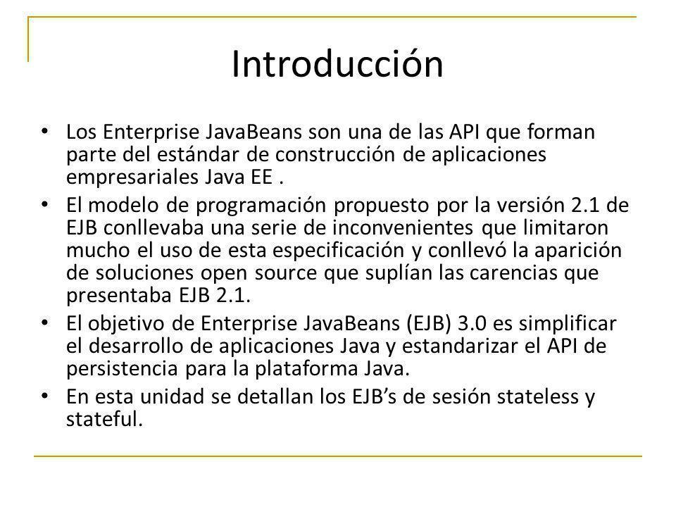 Introducción Los Enterprise JavaBeans son una de las API que forman parte del estándar de construcción de aplicaciones empresariales Java EE. El model