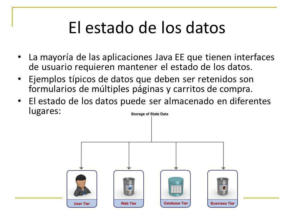 El estado de los datos La mayoría de las aplicaciones Java EE que tienen interfaces de usuario requieren mantener el estado de los datos. Ejemplos típ