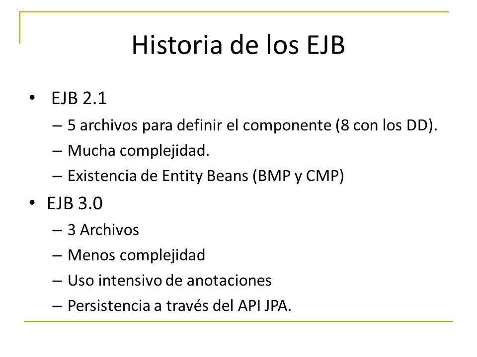 Historia de los EJB EJB 2.1 – 5 archivos para definir el componente (8 con los DD). – Mucha complejidad. – Existencia de Entity Beans (BMP y CMP) EJB