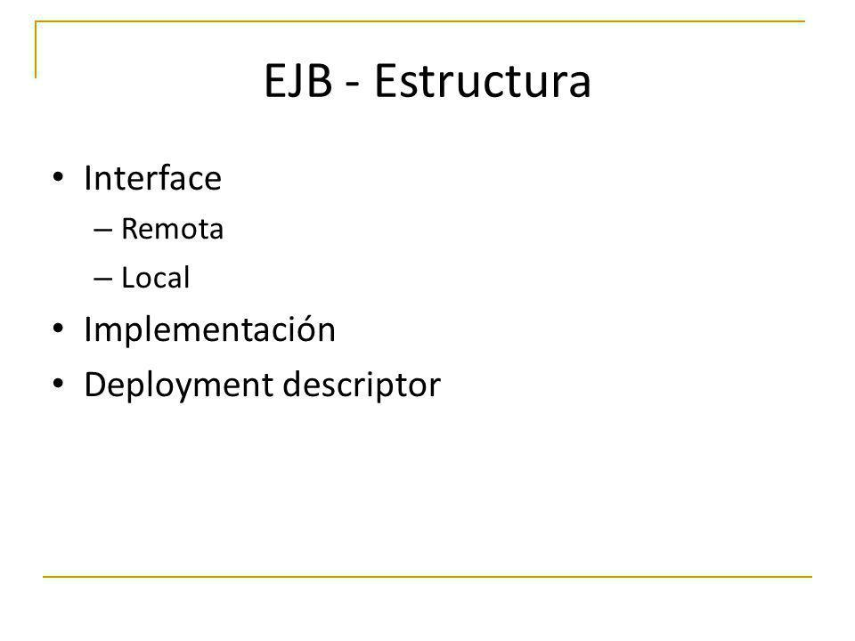 EJB - Estructura Interface – Remota – Local Implementación Deployment descriptor