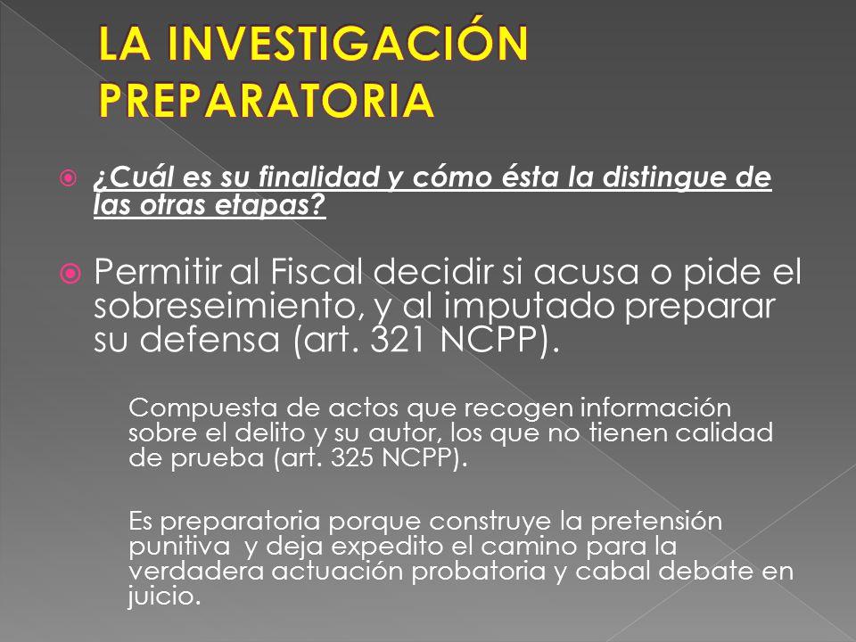 Finalidad (Art. 321º numeral 2 NCPP): 2. La Policía Nacional del Perú y sus órganos especializados en criminalística, la Dirección de Policía Contra l