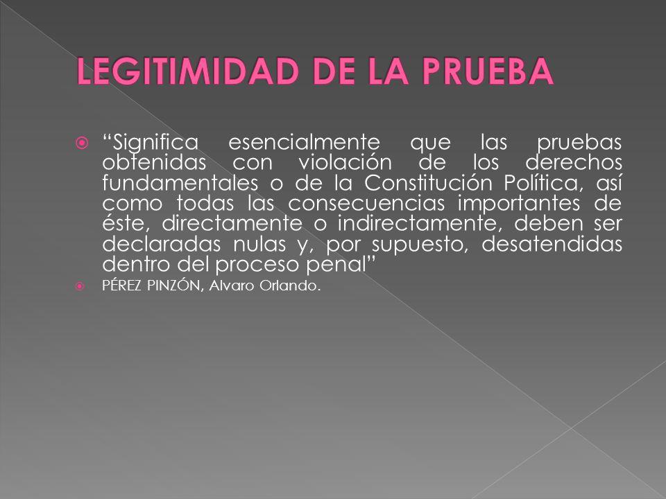 Significa esencialmente que las pruebas obtenidas con violación de los derechos fundamentales o de la Constitución Política, así como todas las consecuencias importantes de éste, directamente o indirectamente, deben ser declaradas nulas y, por supuesto, desatendidas dentro del proceso penal PÉREZ PINZÓN, Alvaro Orlando.