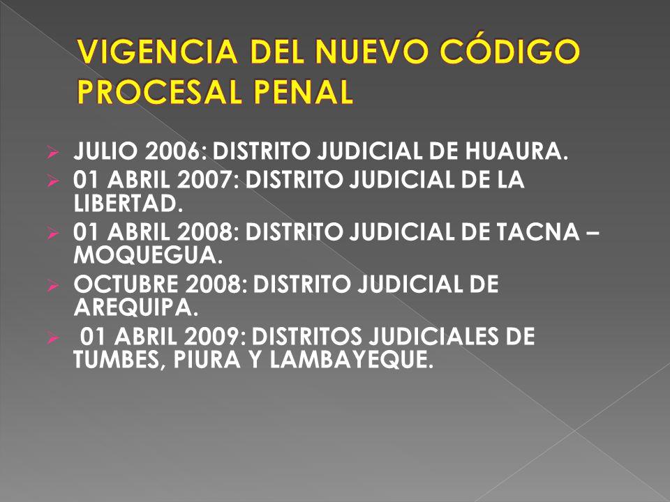 JULIO 2006: DISTRITO JUDICIAL DE HUAURA.01 ABRIL 2007: DISTRITO JUDICIAL DE LA LIBERTAD.