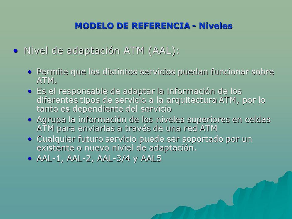 MODELO DE REFERENCIA - Niveles Nivel de adaptación ATM (AAL):Nivel de adaptación ATM (AAL): Permite que los distintos servicios puedan funcionar sobre ATM.Permite que los distintos servicios puedan funcionar sobre ATM.