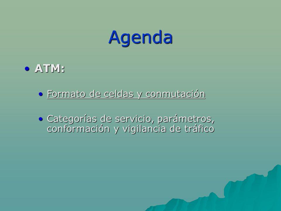 Agenda ATM:ATM: Formato de celdas y conmutaciónFormato de celdas y conmutación Categorías de servicio, parámetros, conformación y vigilancia de tráficoCategorías de servicio, parámetros, conformación y vigilancia de tráfico