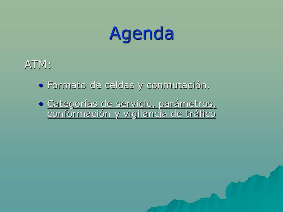 Agenda ATM: Formato de celdas y conmutación.Formato de celdas y conmutación.
