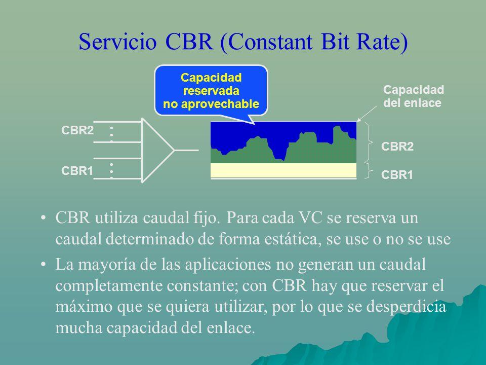 Servicio CBR (Constant Bit Rate) CBR utiliza caudal fijo. Para cada VC se reserva un caudal determinado de forma estática, se use o no se use La mayor