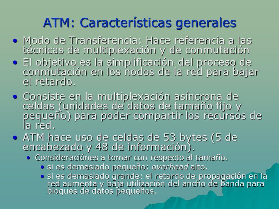 ATM: Características generales Modo de Transferencia: Hace referencia a las técnicas de multiplexación y de conmutaciónModo de Transferencia: Hace ref