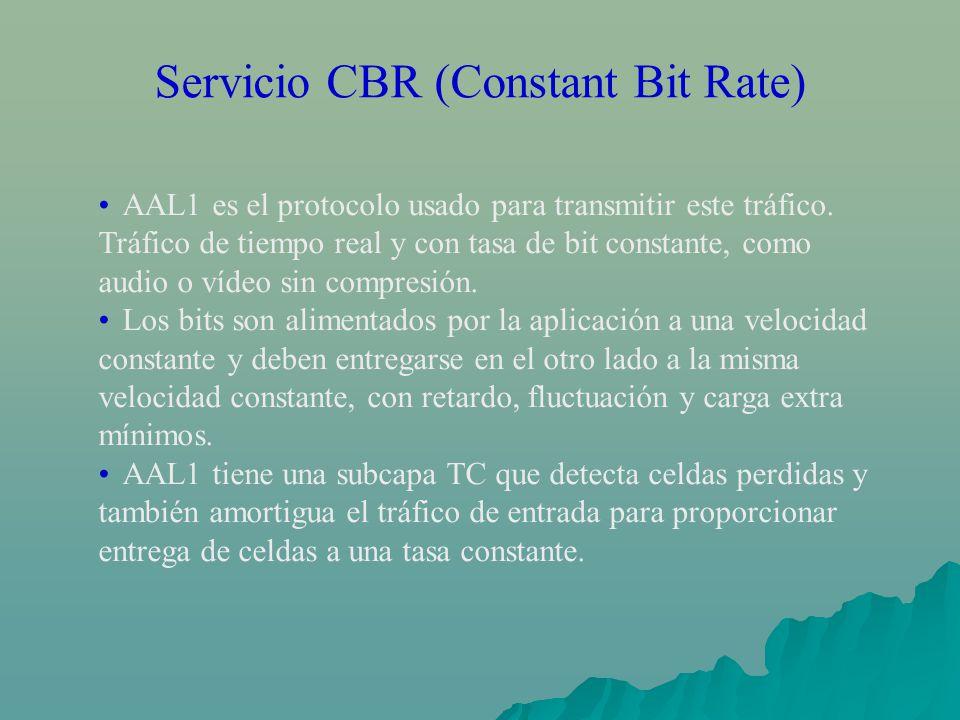 Servicio CBR (Constant Bit Rate) AAL1 es el protocolo usado para transmitir este tráfico. Tráfico de tiempo real y con tasa de bit constante, como aud