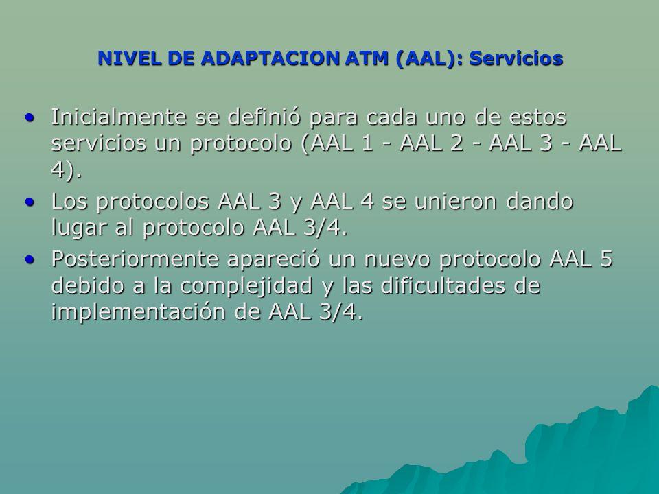 NIVEL DE ADAPTACION ATM (AAL): Servicios Inicialmente se definió para cada uno de estos servicios un protocolo (AAL 1 - AAL 2 - AAL 3 - AAL 4).Inicialmente se definió para cada uno de estos servicios un protocolo (AAL 1 - AAL 2 - AAL 3 - AAL 4).