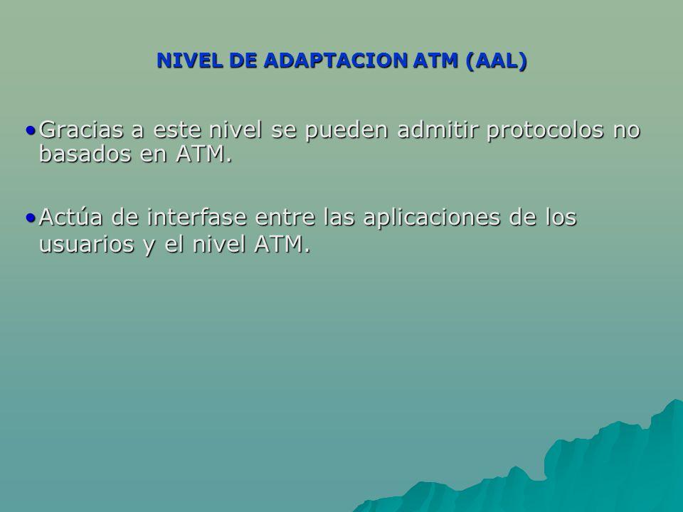 NIVEL DE ADAPTACION ATM (AAL) Gracias a este nivel se pueden admitir protocolos no basados en ATM.Gracias a este nivel se pueden admitir protocolos no basados en ATM.