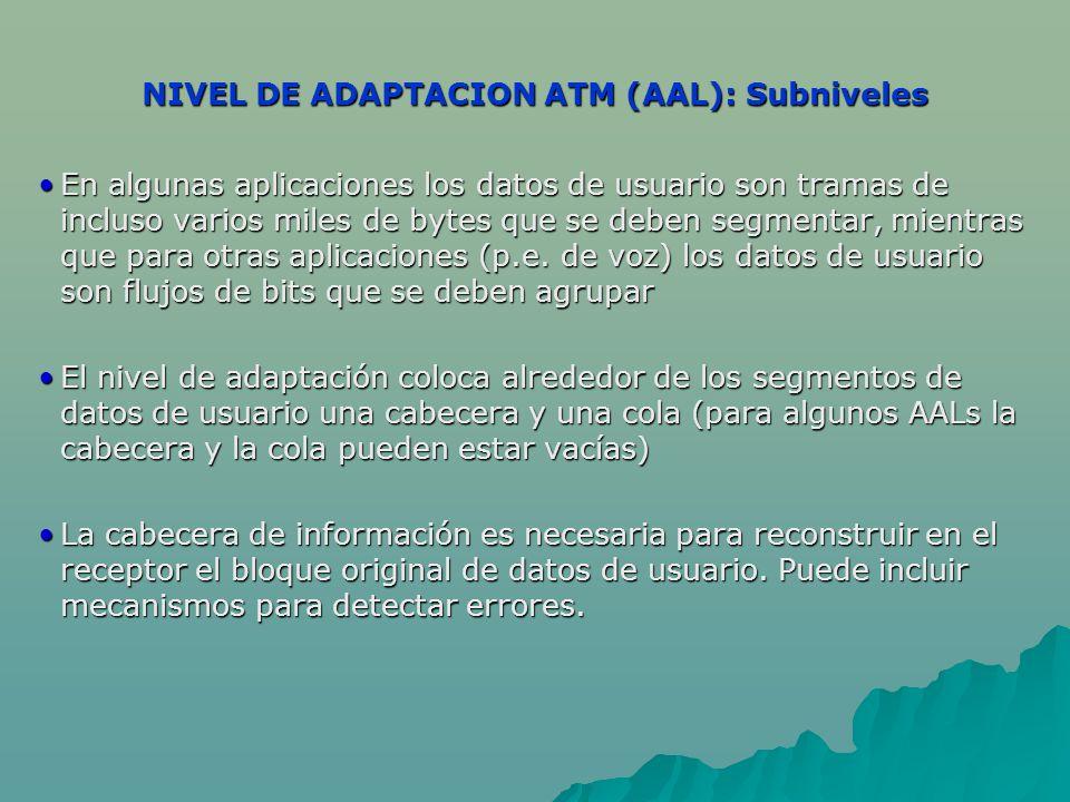 NIVEL DE ADAPTACION ATM (AAL): Subniveles En algunas aplicaciones los datos de usuario son tramas de incluso varios miles de bytes que se deben segmen