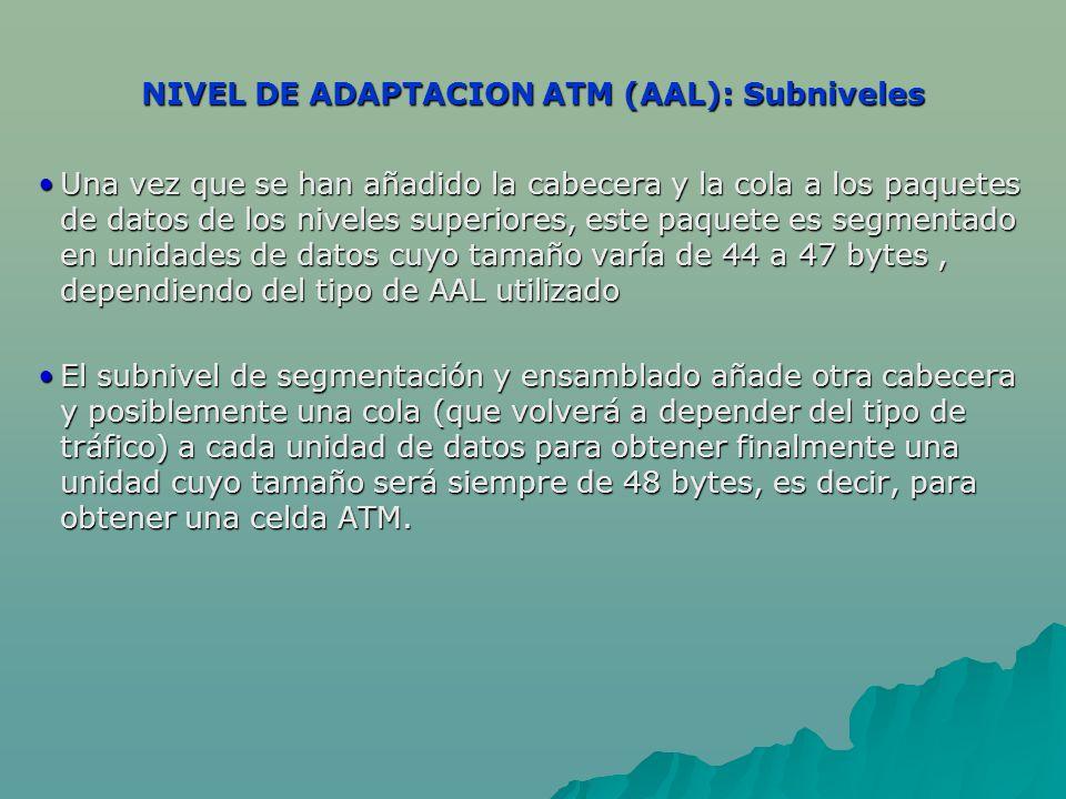 NIVEL DE ADAPTACION ATM (AAL): Subniveles Una vez que se han añadido la cabecera y la cola a los paquetes de datos de los niveles superiores, este paquete es segmentado en unidades de datos cuyo tamaño varía de 44 a 47 bytes, dependiendo del tipo de AAL utilizadoUna vez que se han añadido la cabecera y la cola a los paquetes de datos de los niveles superiores, este paquete es segmentado en unidades de datos cuyo tamaño varía de 44 a 47 bytes, dependiendo del tipo de AAL utilizado El subnivel de segmentación y ensamblado añade otra cabecera y posiblemente una cola (que volverá a depender del tipo de tráfico) a cada unidad de datos para obtener finalmente una unidad cuyo tamaño será siempre de 48 bytes, es decir, para obtener una celda ATM.El subnivel de segmentación y ensamblado añade otra cabecera y posiblemente una cola (que volverá a depender del tipo de tráfico) a cada unidad de datos para obtener finalmente una unidad cuyo tamaño será siempre de 48 bytes, es decir, para obtener una celda ATM.
