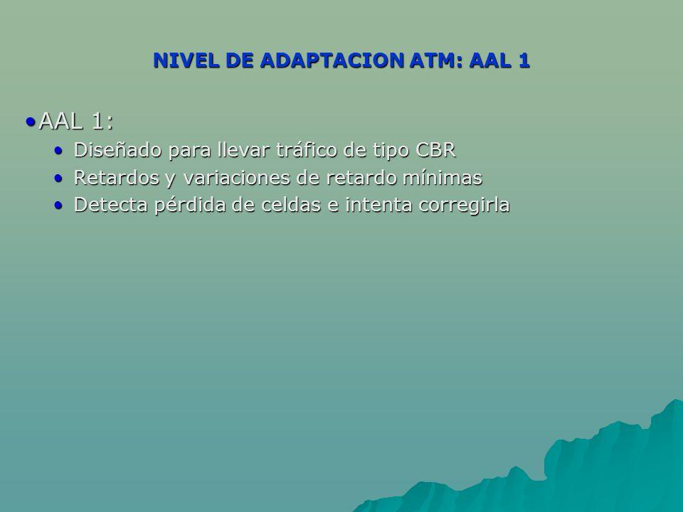 NIVEL DE ADAPTACION ATM: AAL 1 AAL 1:AAL 1: Diseñado para llevar tráfico de tipo CBR Diseñado para llevar tráfico de tipo CBR Retardos y variaciones d