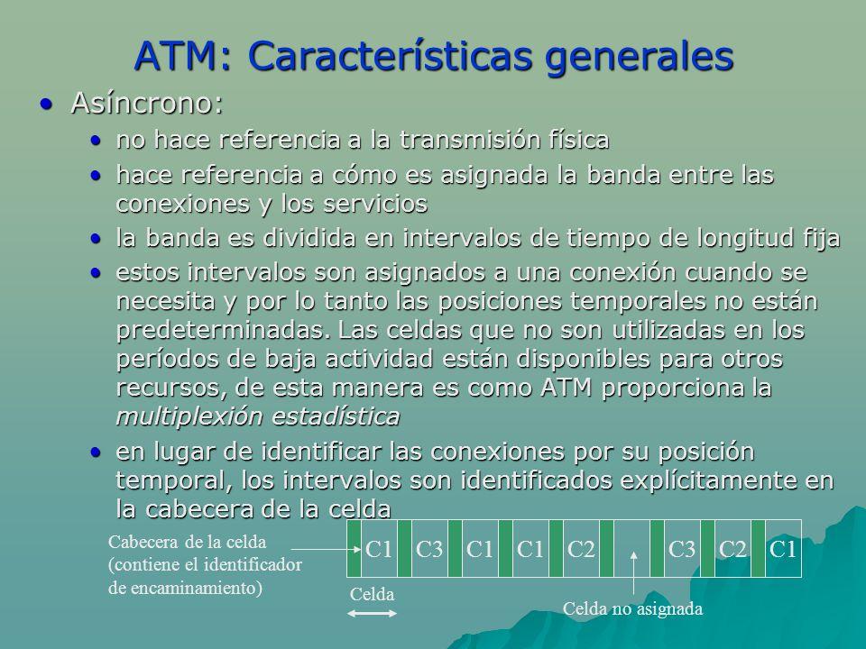 ATM: Características generales Asíncrono:Asíncrono: no hace referencia a la transmisión físicano hace referencia a la transmisión física hace referenc