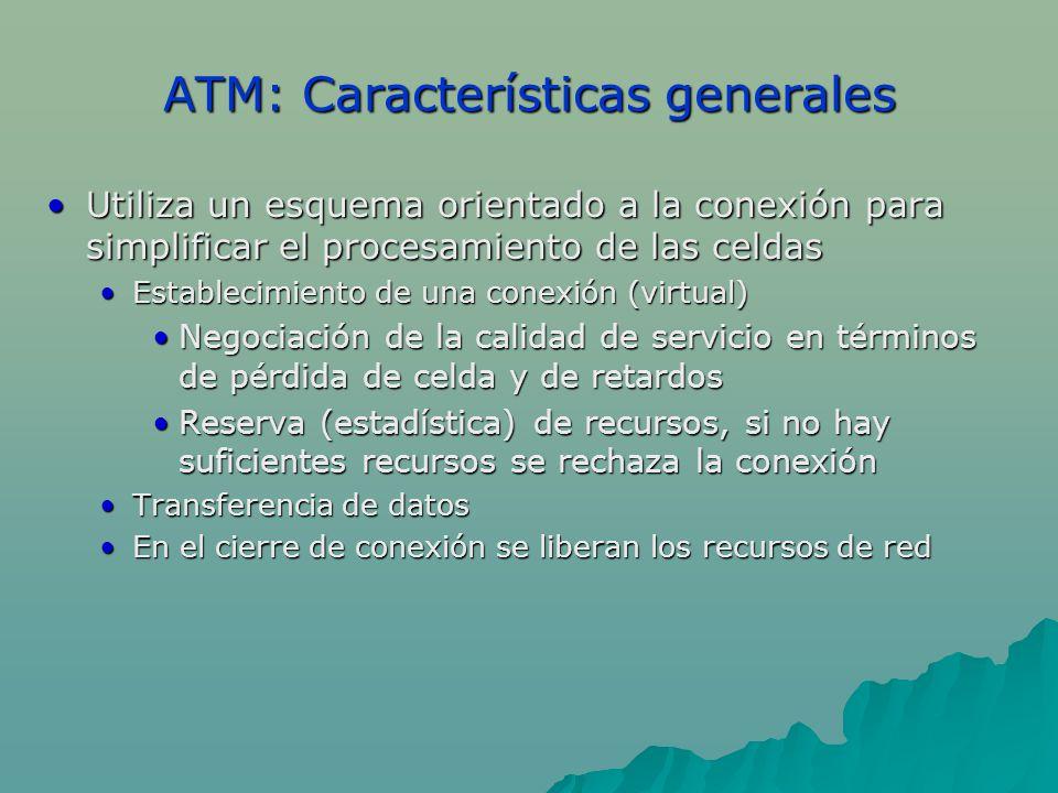 ATM: Características generales Utiliza un esquema orientado a la conexión para simplificar el procesamiento de las celdasUtiliza un esquema orientado
