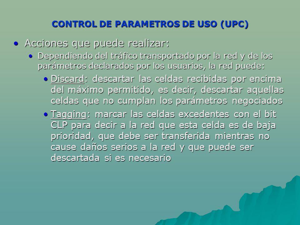 CONTROL DE PARAMETROS DE USO (UPC) Acciones que puede realizar:Acciones que puede realizar: Dependiendo del tráfico transportado por la red y de los parámetros declarados por los usuarios, la red puede:Dependiendo del tráfico transportado por la red y de los parámetros declarados por los usuarios, la red puede: Discard: descartar las celdas recibidas por encima del máximo permitido, es decir, descartar aquellas celdas que no cumplan los parámetros negociadosDiscard: descartar las celdas recibidas por encima del máximo permitido, es decir, descartar aquellas celdas que no cumplan los parámetros negociados Tagging: marcar las celdas excedentes con el bit CLP para decir a la red que esta celda es de baja prioridad, que debe ser transferida mientras no cause daños serios a la red y que puede ser descartada si es necesarioTagging: marcar las celdas excedentes con el bit CLP para decir a la red que esta celda es de baja prioridad, que debe ser transferida mientras no cause daños serios a la red y que puede ser descartada si es necesario